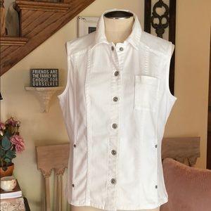 Chico's Platinum White Jean Sleeveless Vest